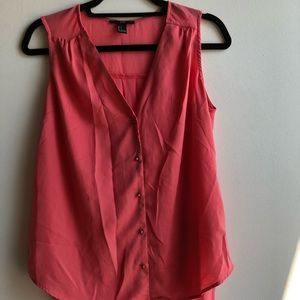 Coral button down blouse w/ sheer back